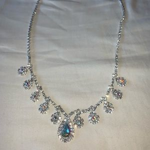 Claires Elegant Glam Rhinestone Statement Necklace